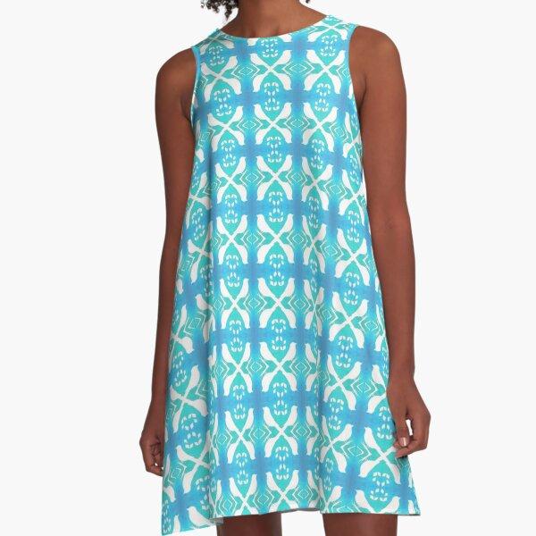 Bird Echo on Blue A-Line Dress