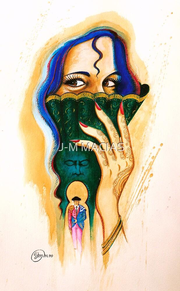femme a l'eventail by J-M MACIAS