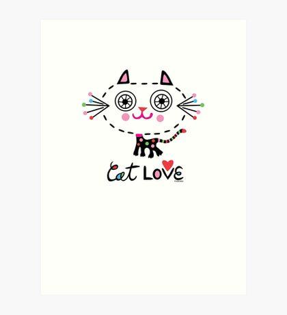 Cat Love - heart Art Print