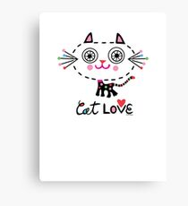 Cat Love - heart Canvas Print