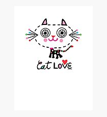 Cat Love - heart Photographic Print