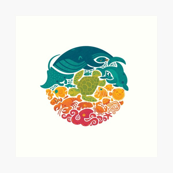 Aquatic Rainbow (white) Art Print