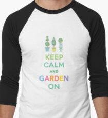 Keep Calm and Garden On  Men's Baseball ¾ T-Shirt