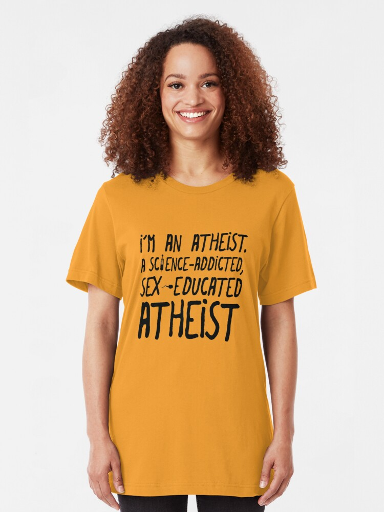 Alternate view of EMO the Musical - Sex educated Atheist... Black font Slim Fit T-Shirt