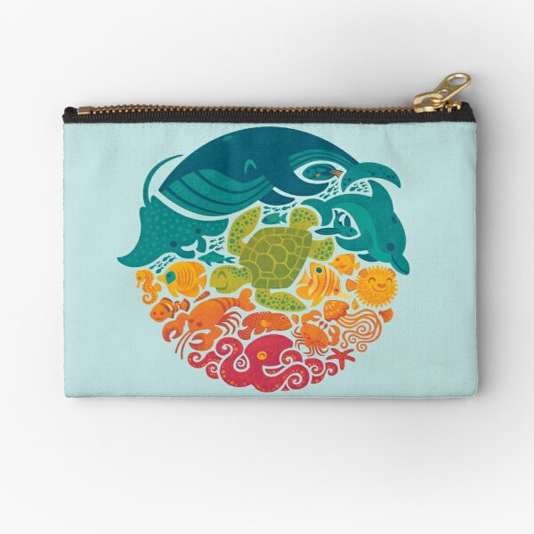 Aquatic Rainbow (light blue) Zipper Pouch