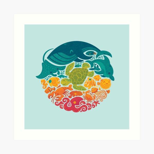 Aquatic Rainbow (light blue) Art Print