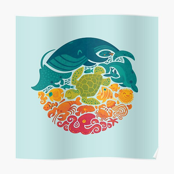 Aquatic Rainbow (light blue) Poster