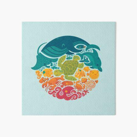 Aquatic Rainbow (light blue) Art Board Print