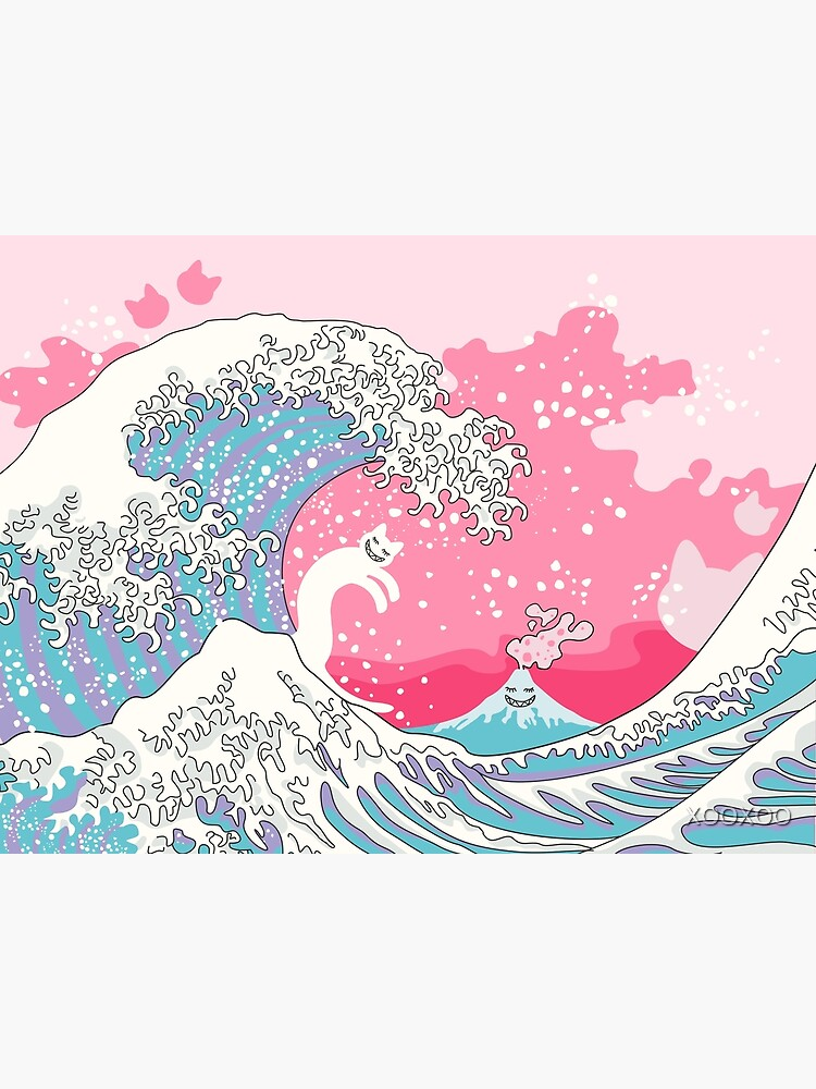 Psychodelic Bubblegum Kunagawa Surfer Cat by XOOXOO