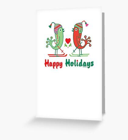 Ski Birds Happy Holidays Greeting Card
