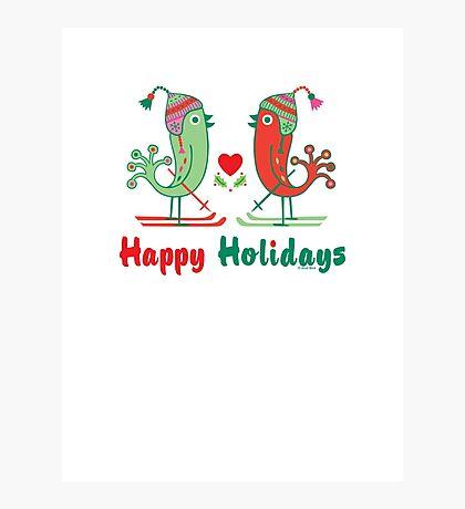 Ski Birds Happy Holidays Photographic Print