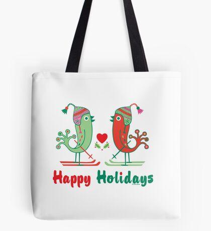 Ski Birds Happy Holidays Tote Bag