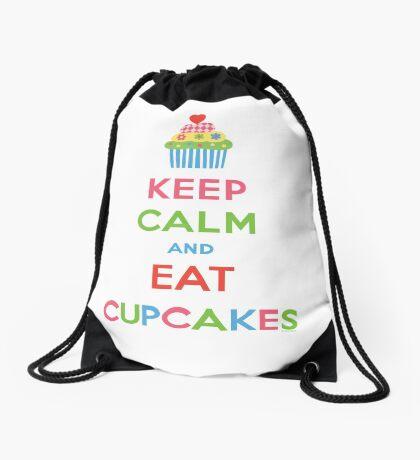 Keep Calm and Eat Cupcakes 5  Drawstring Bag