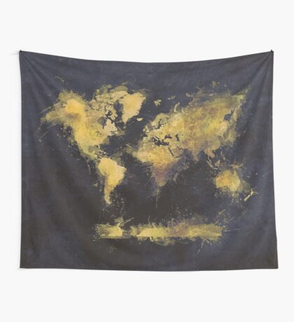 world map 65 yellow Wall Tapestry