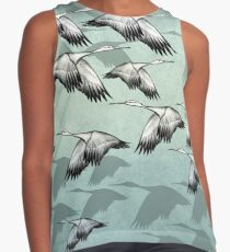 Japanese Flying Cranes Art Pattern Contrast Tank