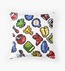 Legend of Zelda A Link to the Past / items 2 / pattern / white Throw Pillow