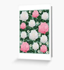 Peach-Pink and White Rose Floral Design Greeting Card