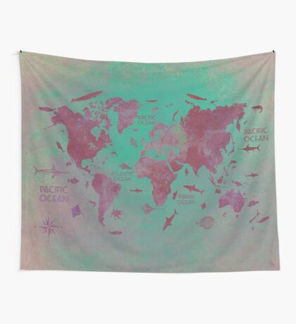 world map 66 Wall Tapestry