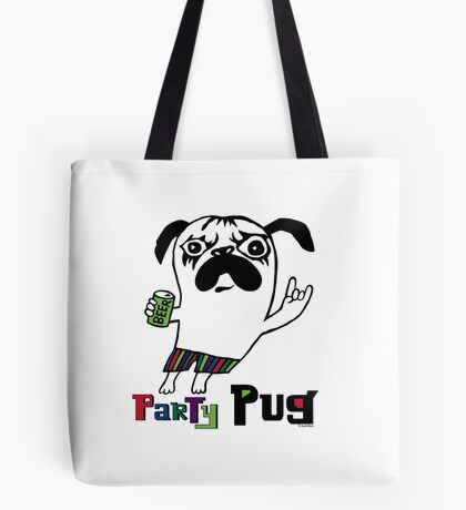 Party Pug on colors Tote Bag