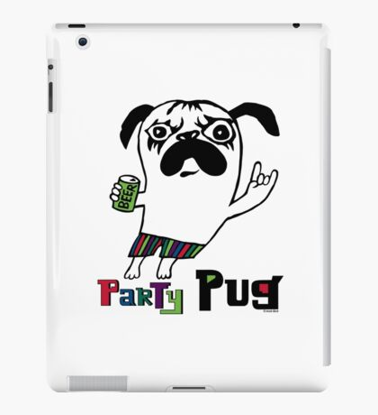 Party Pug on colors iPad Case/Skin