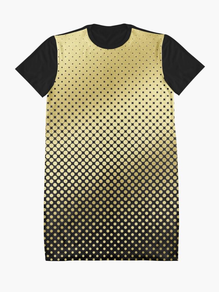 Alternate view of Polka Dots Gold Glitter Black Modern Graphic T-Shirt Dress