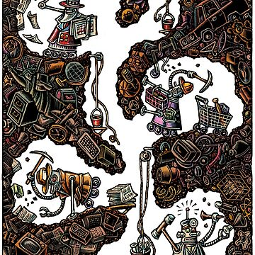 Robots Building Tunnels World of Stuff by LisaHaney