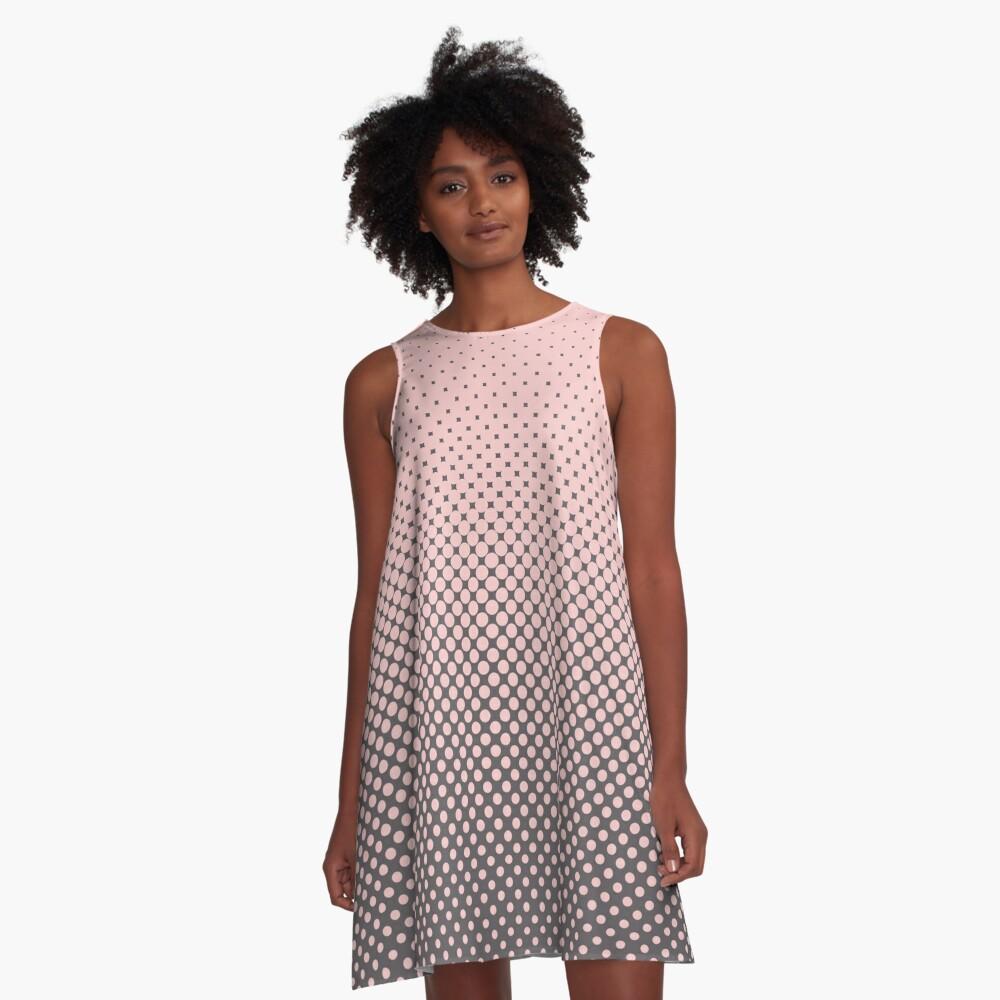 Polka Dots Millennial Pink Opal Grey Trendy A-Line Dress