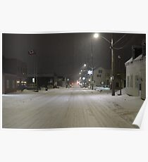 Snow storm on main street Poster