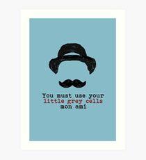 Agatha Christie: Hercule Poirot - kleine graue Zellen (hellblau) Kunstdruck