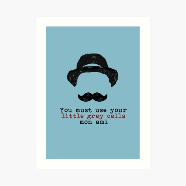 Agatha Christie: Hercule Poirot - Little Grey Cells (Light Blue) Art Print