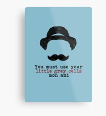 Agatha Christie: Hercule Poirot - Little Grey Cells (Light Blue) Metal Print