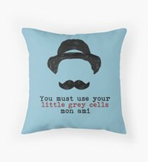 Agatha Christie: Hercule Poirot   Little Grey Cells (Light Blue) Throw  Pillow
