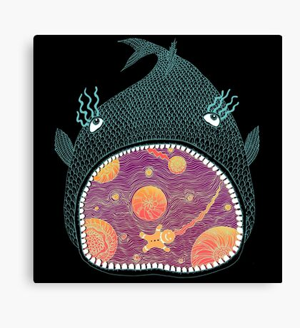 Cosmic Fish with Gingerbread Astronaut Canvas Print
