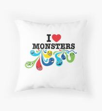 I Heart Monsters Throw Pillow