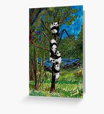 Six  Baby Pandas in a Tree Greeting Card