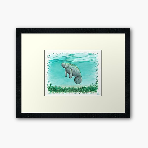 """Mossy Manatee"" by Amber Marine ~ Watercolor and ink painting, art © 2016 Framed Art Print"