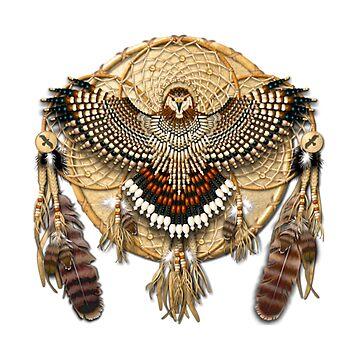 native american mandala red tailed hawk by Nayla475