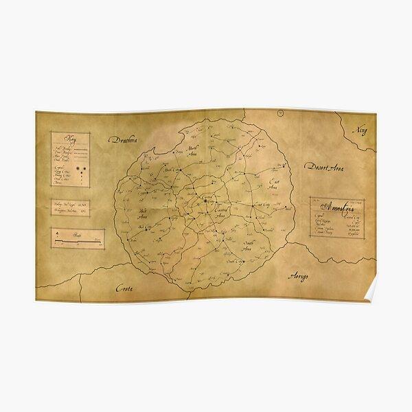 """""""Vintage"""" Map of Amestris Poster"""