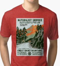 Vintage Travel Poster - Great Smoky Mountains National Park Tri-blend T-Shirt