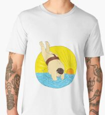 Japanese Sumo Wrestler Diving Sea Sunset Circle Drawing Men's Premium T-Shirt