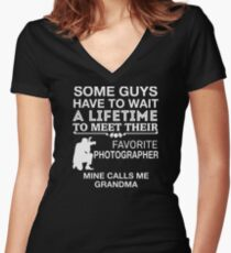 My Favorite Photographer Calls Me Grandma Proud Women's Fitted V-Neck T-Shirt