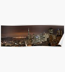 San Francisco skyline at night panorama 3 Poster