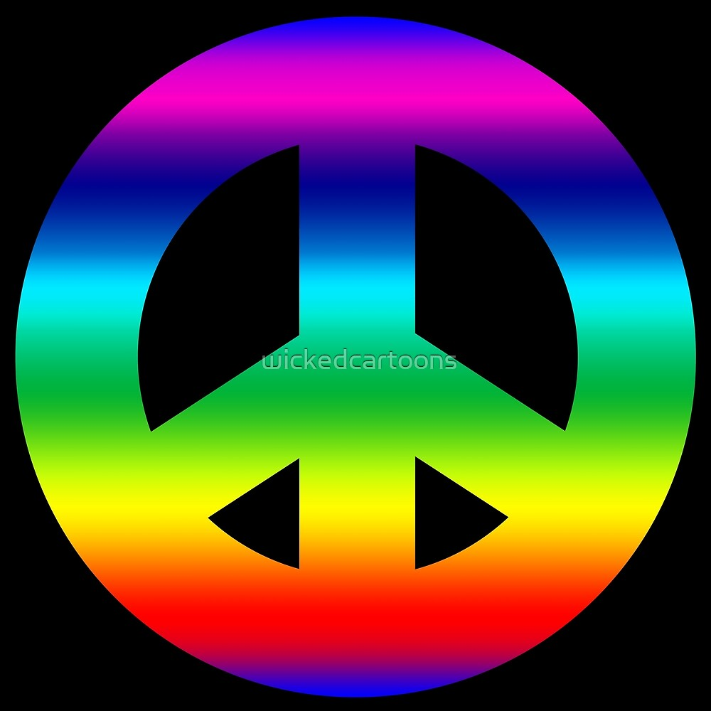 RAINBOW PEACE SYMBOL by wickedcartoons
