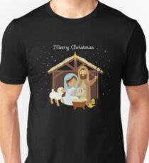 Merry Christmas & Nativity Scene Christian T-Shirt