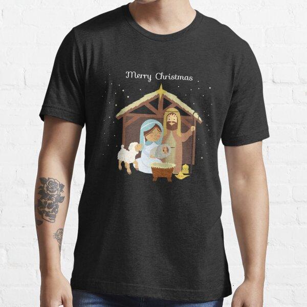 Merry Christmas & Nativity Scene Christian Essential T-Shirt