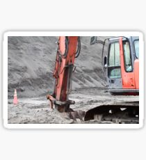 An industrial excavator at work on a job site Sticker