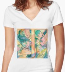Face Sketches Women's Fitted V-Neck T-Shirt