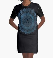 BOHOCHIC MANDALA IN BLUE Graphic T-Shirt Dress