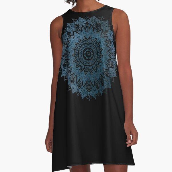 BOHOCHIC MANDALA IN BLUE A-Line Dress