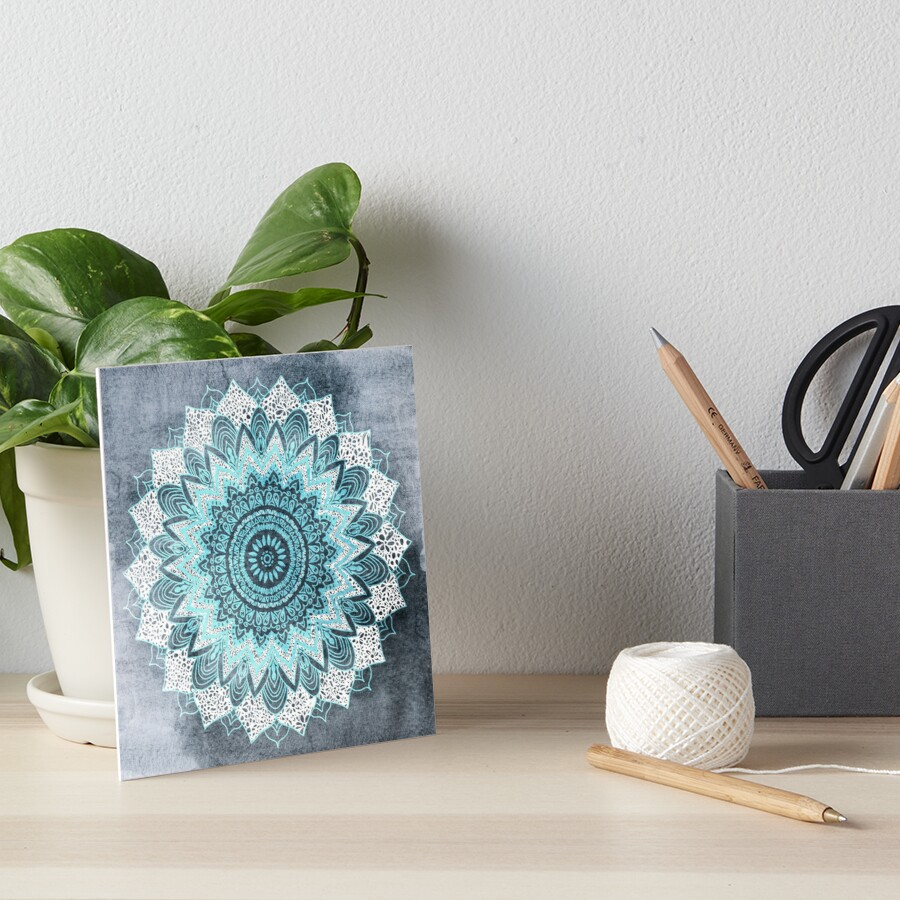 BOHOCHIC MANDALA IN BLUE Art Board Print